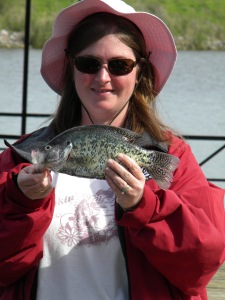 This woman took a nice crappie from one of the docks at the parking lot on Wolf Cree Causeway.